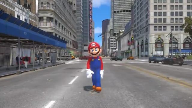 """当马里奥遇到GTA游戏 大叔立刻变身""""痞子英雄"""""""