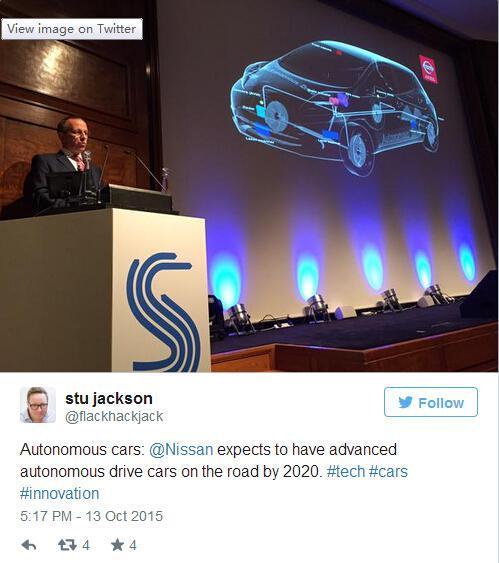 日产展示无人驾驶技术 希望2020年上路