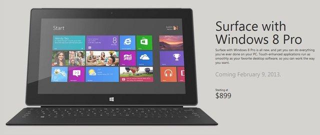 微软宣布Surface Pro将于2月9日北美开卖 5600元起售