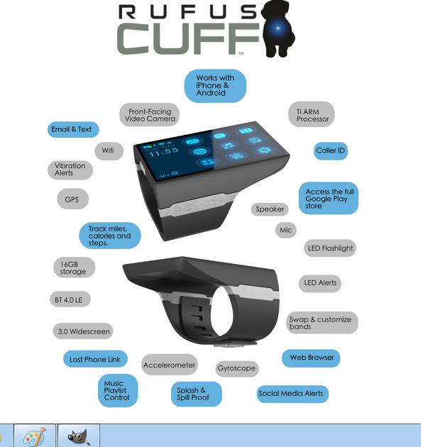 Rufus Cuff Monster智能手表亮相 配3寸大屏
