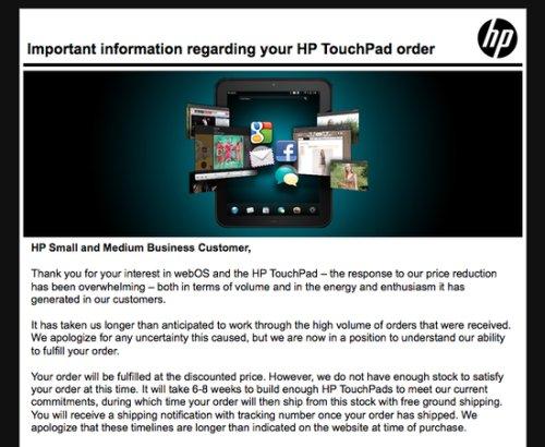 惠普第二批TouchPad将发货 还是99美元