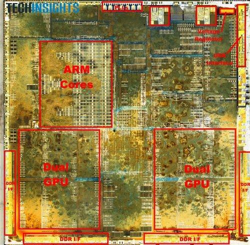 苹果A5X核心图:45nm工艺 面积堪比SNB