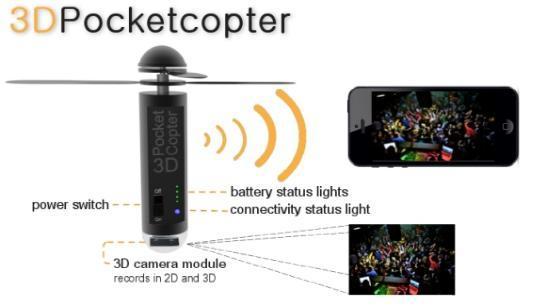会飞的袖珍3D摄像机:可拍摄2D/3D视频