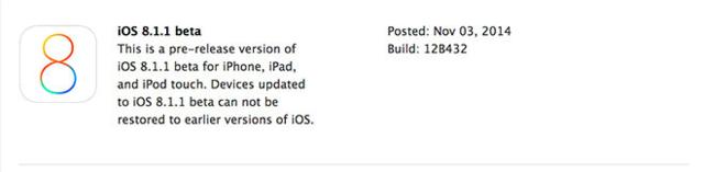 苹果再发iOS 8.1.1 Beta 修复多项系统bug
