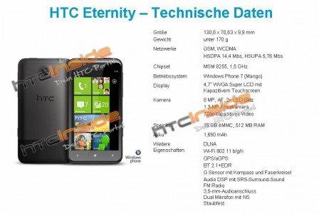 4.7寸巨屏WP7新机 HTC Eternity曝光