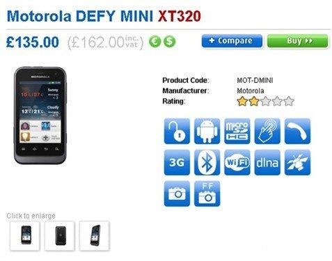 MOTO Defy mini英国上市 售价162英镑