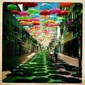 高清:空中美艳的彩虹伞