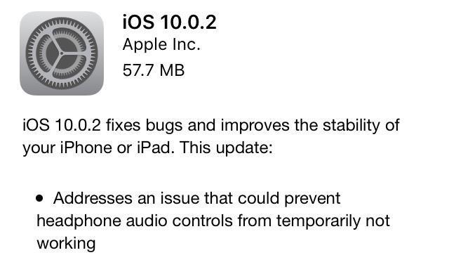苹果发布iOS 10.0.2 修好了耳机线控失效问题