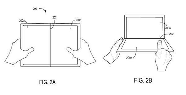 微软再获手机专利 Surface Phone真用折叠设计?