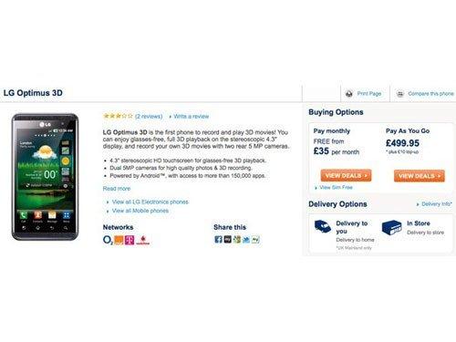 内置3款3D游戏 LG Optimus 3D本月开卖