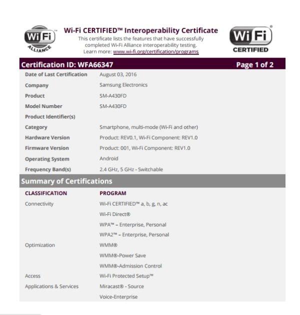 三星Galaxy A4通过Wi-Fi认证 第六款A系机型