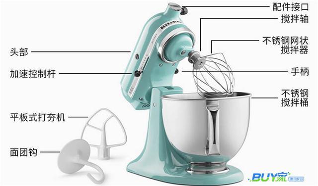 Kitchen Aid厨师机自带4.75L不锈钢搅拌桶,适合4-5人家庭使用。防溅盖便于搅拌过程中添加食材,确保使用过程安全、卫生。4.75L能做些什么呢?可以搅拌1公斤中筋面粉或是800克全麦面粉,可以制作是500克派皮,最多可以打发12个蛋清或是1升淡奶油,还可制作2.7公斤蛋糕、3.2公斤土豆泥或是108个曲奇饼干。  通过使用不同的搅拌配件,搭配不同的转速,就可以完成不同食品的制作过程。压面,碾谷物,做意式饺子,切片,开罐,绞肉,做香肠,榨汁,冰淇淋等等,几乎厨房需要的所有功能都能实现。  外观方