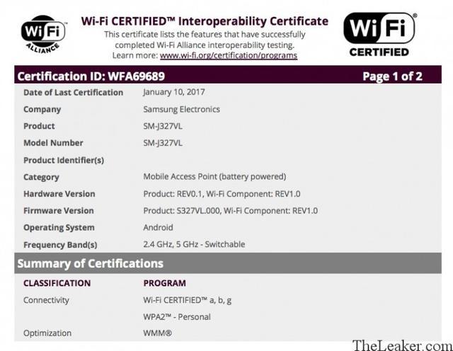 三星新款J3通过Wi-Fi认证 搭载骁龙430处理器