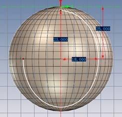 再次选择创建草图与2个椭圆草图垂直在此草图上画一根线段作为