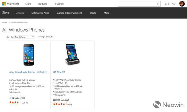 微软英国商店下架所有Lumia手机 这是要完?