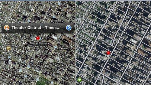 iOS 6内置地图对比谷歌地图 差距巨大