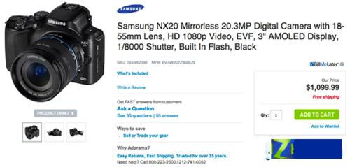 1100美元 三星NX20美国地区正式发售