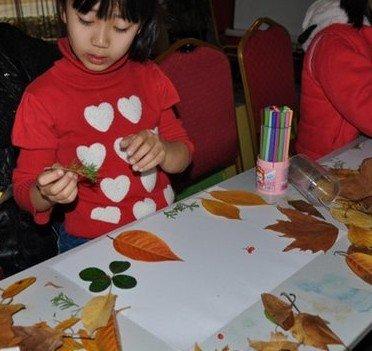 家庭亲子树叶剪贴画比赛