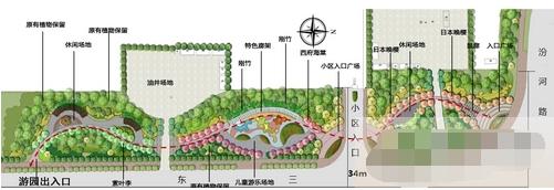 游园道路平面图 手绘