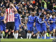 Chelsea celebrate scoring a goal