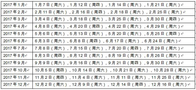 关于2017年4月至12月雅思考试日期的通知