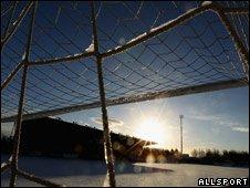 Football net at Stirling Football Club, Scotland