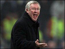 Manchester United manager Alex Ferguson shouting