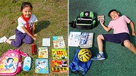 小学生书包装了啥:足球跳绳漫画
