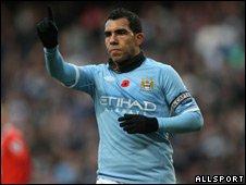 Man City striker Carlos Tevez