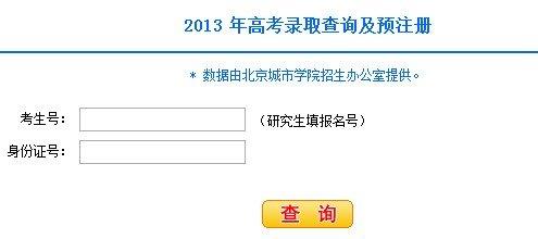 2013年北京城市学院高考录取查询系统