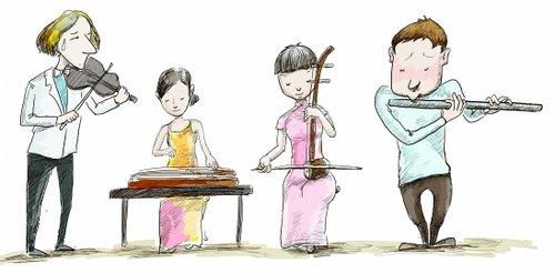 琵琶女孩手绘图