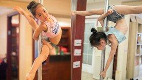 6岁女孩练钢管舞 手磨出茧仍坚持