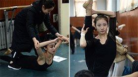 山东艺考启幕 舞蹈生场外高难度动作热身