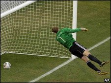 Manuel Neuer and the ball following Lampard's disallowed goal