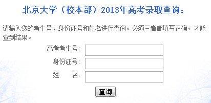 2013年北京大学高考录取查询系统