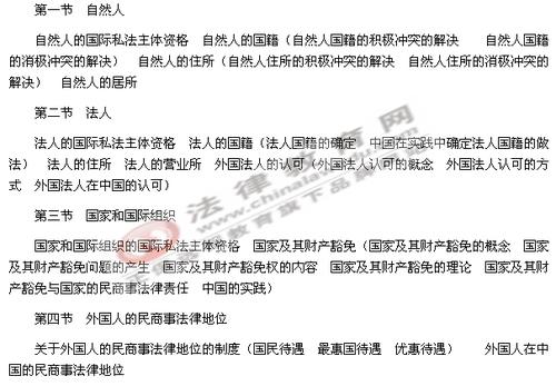 2012年司法考试大纲:国际私法