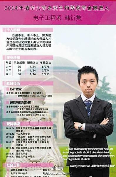 2014年清华大学本科生特等奖学金候选人 电子工程系韩衍隽