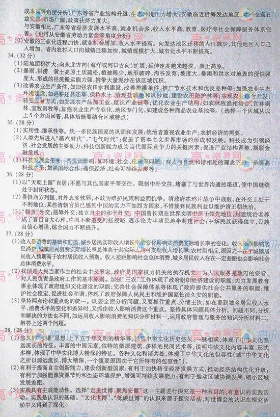 2010年高校招生考试文综(安徽卷)参考答案