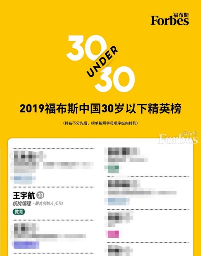 2019福布斯30岁以下精英:核桃编程王宇航成唯一少儿编程企业代表