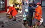 大学生寒假帮清洁工妈妈扫街