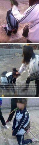 女逼�_女学生被同伴逼下跪嘴塞黄瓜 施暴者致歉(图)
