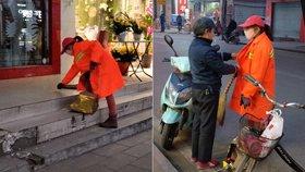 大学女生寒假回家帮清洁工妈妈扫街道
