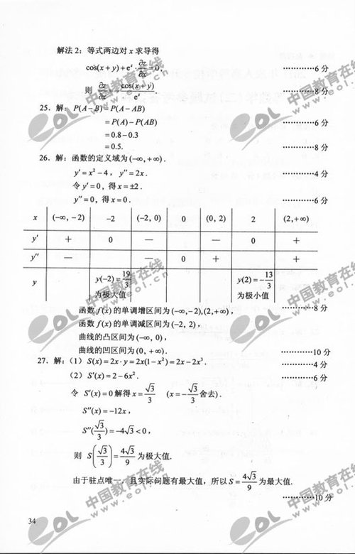 2011成考专升本高数(二)试题及答案