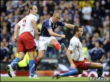 Kenny Miller scoring for Scotland