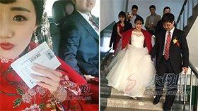 女生穿婚纱参加考试 考完就上婚车