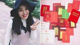 学霸女神获4年国奖 证书拿到手软