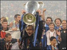 Jose Mourinho with Champions League trophy