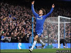 David Luiz celebrates scoring for Chelsea against Manchester City