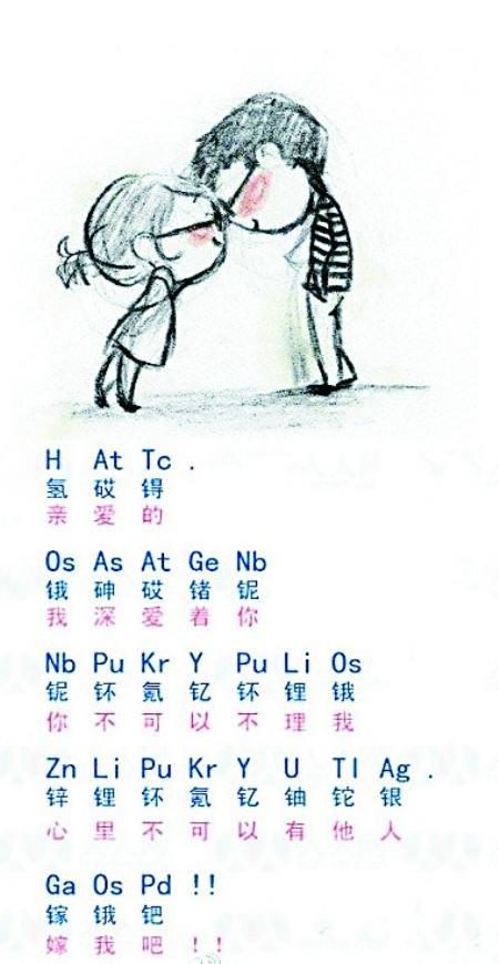 学霸的另类浪漫:化学情书含蓄表达真爱(图)