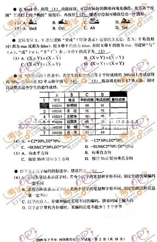 2009年下半年软考网络管理员考试上午试题